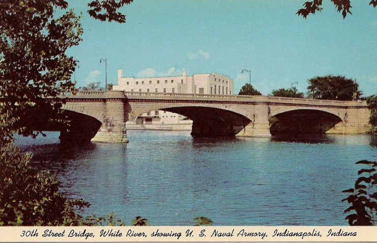 30th Street Bridge, White River, showing U.S. Naval Armory, Indianapolis, Indiana