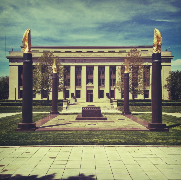 Part of the American Legion Headquarters on the Indiana World War Memorial Plaza.