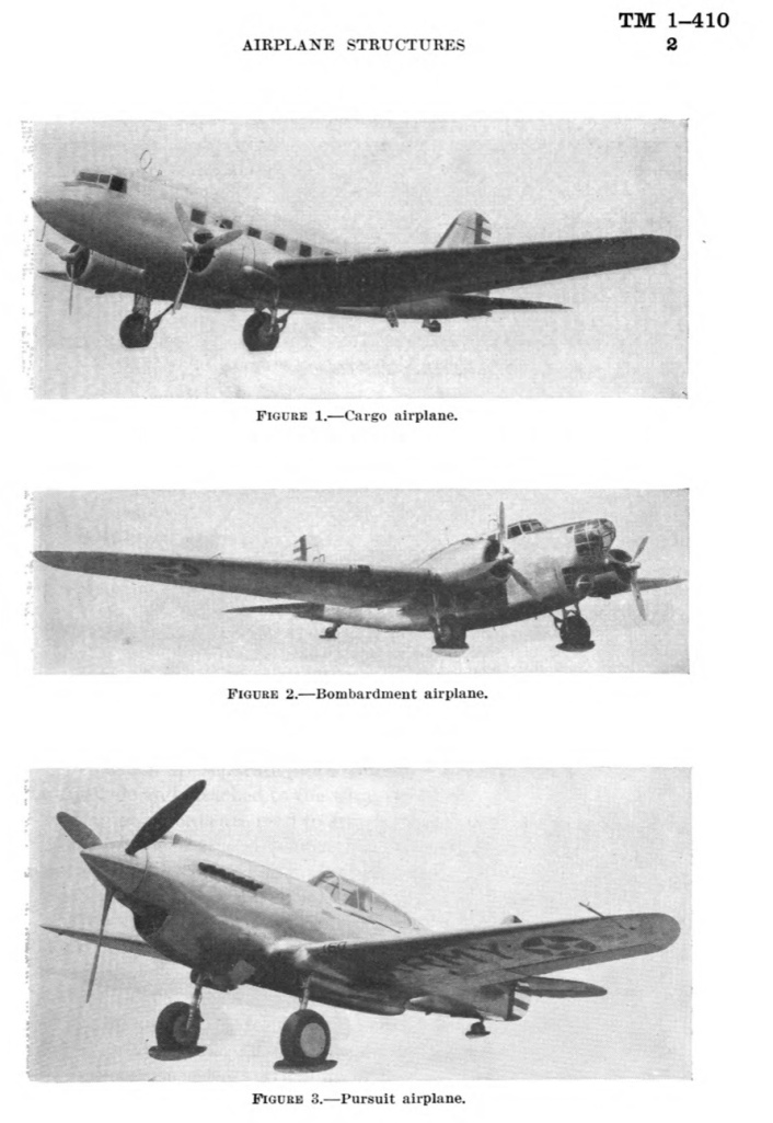 TM 1-410 Airplane Structures (1940), Examples of Airplane Structures