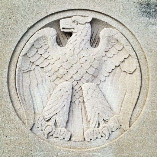 Regal eagle, limestone eagle on the north elevation of the Indiana World War Memorial.
