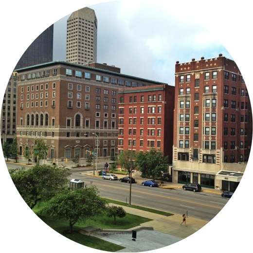 I love this group of historic buildings in downtown Indianapolis, as seen from the balcony of the World War Memorial. From L to R: Indianapolis Athletic Club, The Blacherne, and Vermont Place.