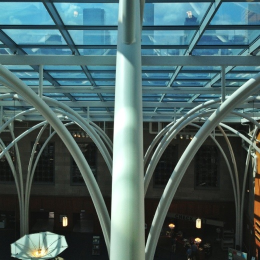 The atrium supports as viewed from the 5th Floor Escalator.