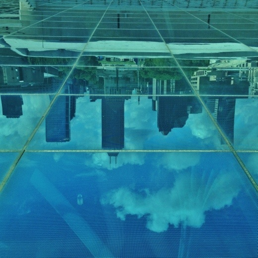 The Indianapolis Skyline reflected in the roof of the atrium at the Central Library.