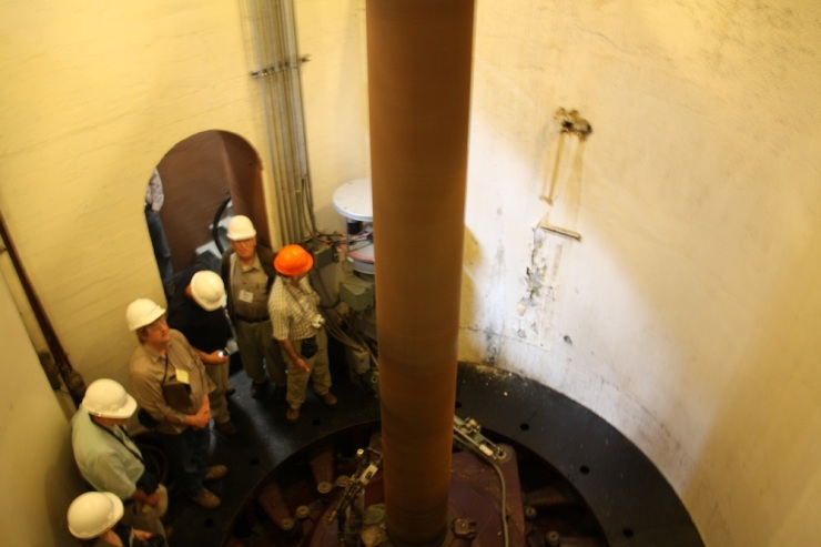 The turbine generator shaft. The turbines are rotated by the force of the water to generate electricity. Here is a great shot of our group in one of the concrete walled shaft.