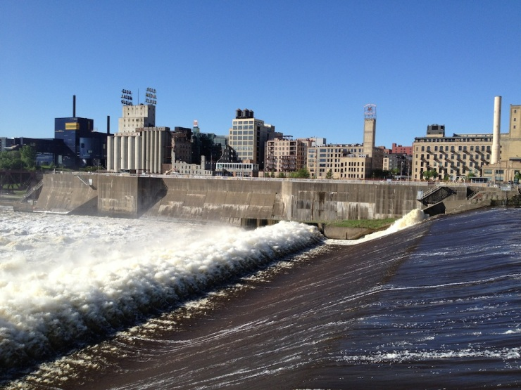 Upper St. Anthony Falls with downtown Minneapolis in the background.