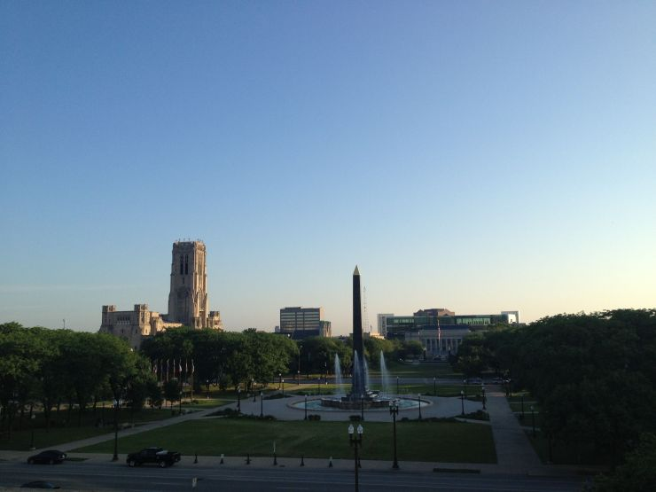 The morning run. Snagged this one from the balcony of the World War Memorial. Love that the tower of the Scottish Rite stands above everything else in the area.