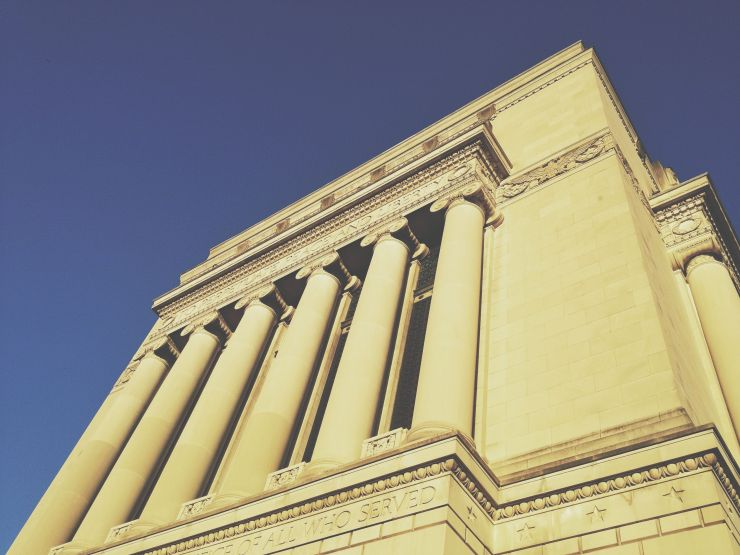 Indiana World War Memorial with the morning light.