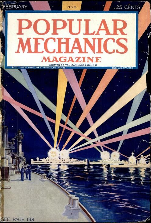 Popular Mechanics, February 1924. A naval light pageant. This cover is particularly beautiful.