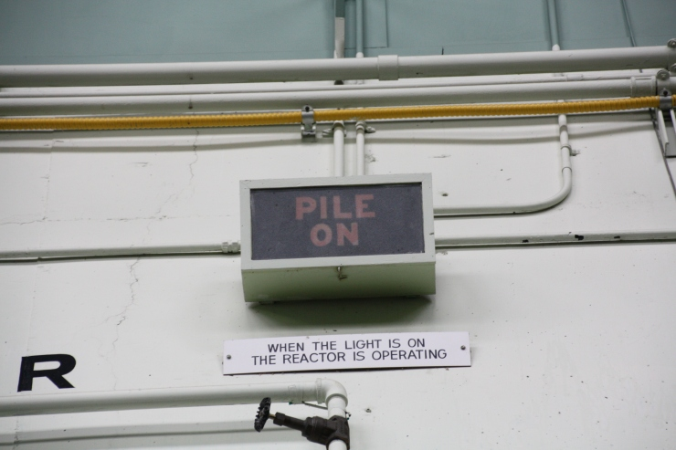 """Sign for """"PILE ON"""" - when the graphite reactor was operating."""