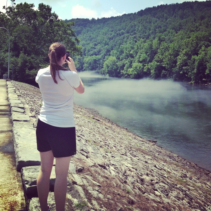 Shannon photographing the foggy Clinch River