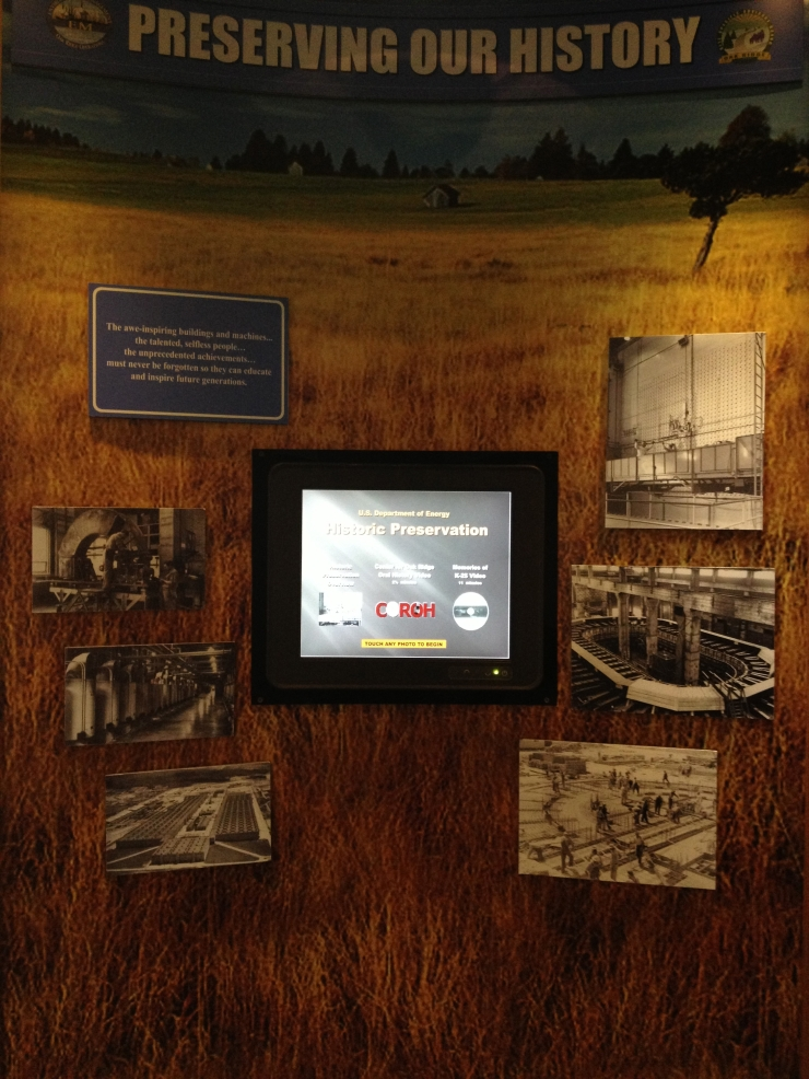 Display on the Department of Energy's Section 106/historic preservation activities, inside AMSE.