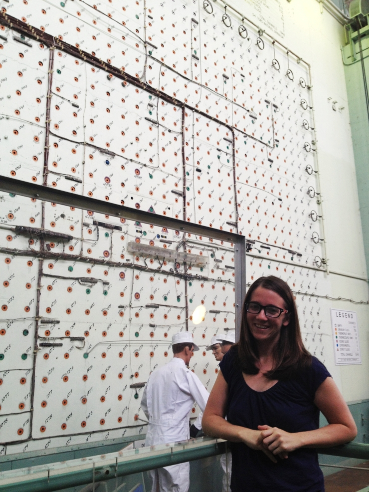 Standing in front of the X-10 graphite reactor face.