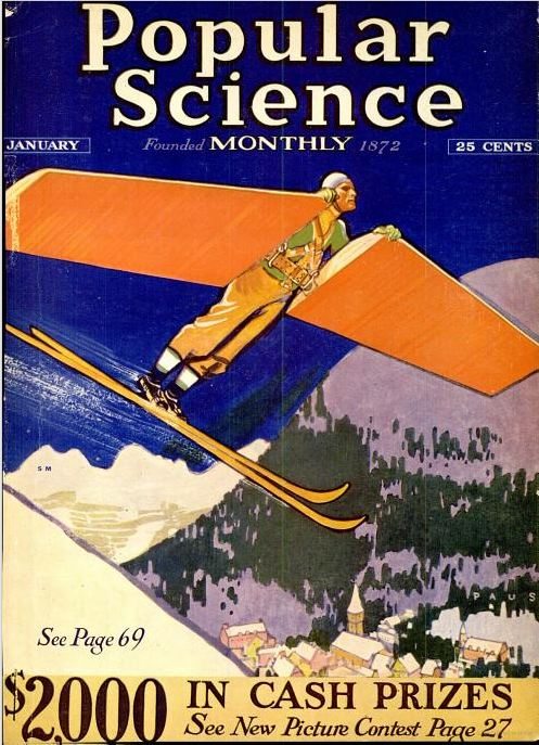 Popular Science, January 1931. Adding this winged contraption while skiing could make you fly!