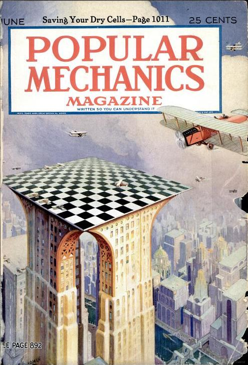 Popular Mechanics, June 1926. At one point, the idea of placing airports/aircraft landing areas on top of skyscrapers was discussed. It was especially ideal in big cities where room for airport was scarce. I'm pretty sure this would have required one extremely large building to structurally support such an endeavor.