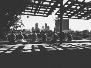 Instagrammers basking in the glow of the Indianapolis skyline. One of my favorites from the meet!