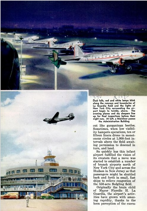 Planes and the Administration Building at La Guardia. Popular Mechanics, March 1941 (pg 340)