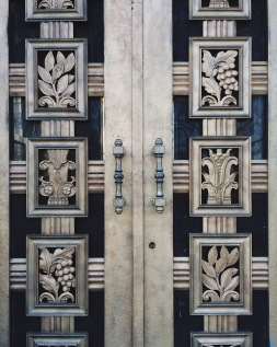 """Art Deco doors on the """"Fortune"""" mausoleum at the top of Crown Hill"""