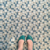 Turquoise floor at the Bendix Diner