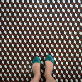 Geometric tile floor at the White Mana, Jersey City