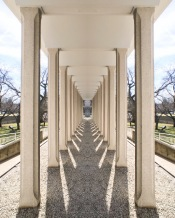 Irwin Library colonnade reflected